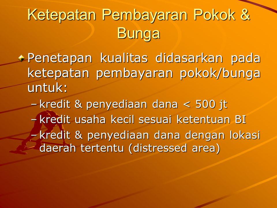 Ketepatan Pembayaran Pokok & Bunga Penetapan kualitas didasarkan pada ketepatan pembayaran pokok/bunga untuk: –kredit & penyediaan dana < 500 jt –kredit usaha kecil sesuai ketentuan BI –kredit & penyediaan dana dengan lokasi daerah tertentu (distressed area)