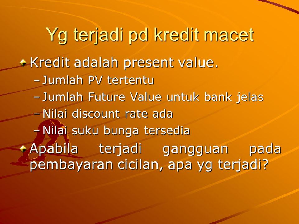 Yg terjadi pd kredit macet Nilai pada saat kredit diberikan Debitur (PV) Bank (FV) 10.000,0011.268,25 Asumsi ; Nominal kredit 10.000 Suku bunga 12% Jangka waktu 1 thn Cicilan perbulan Tidak memperhitungkan agunan Nilai pada saat kredit macet 6 bulan Debitur (PV) Bank (FV) 5.098,235.802,26