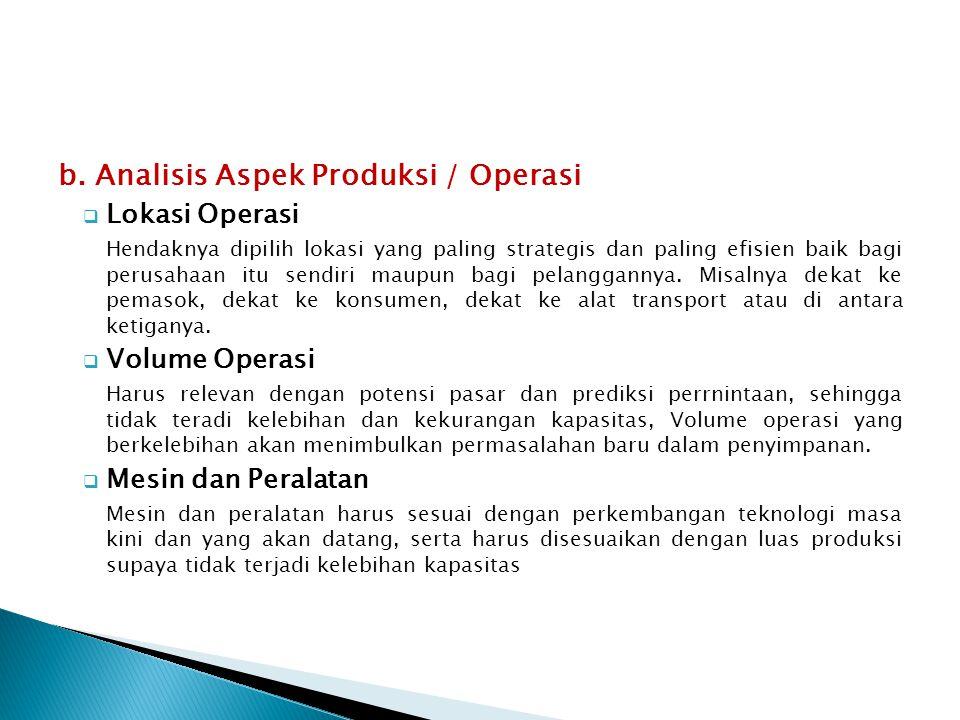 b. Analisis Aspek Produksi / Operasi  Lokasi Operasi Hendaknya dipilih lokasi yang paling strategis dan paling efisien baik bagi perusahaan itu sendi