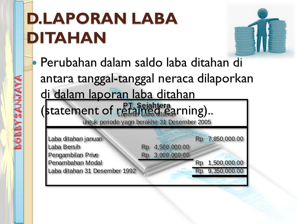 D.LAPORAN LABA DITAHAN Perubahan dalam saldo laba ditahan di antara tanggal-tanggal neraca dilaporkan di dalam laporan laba ditahan (statement of retained earning)..