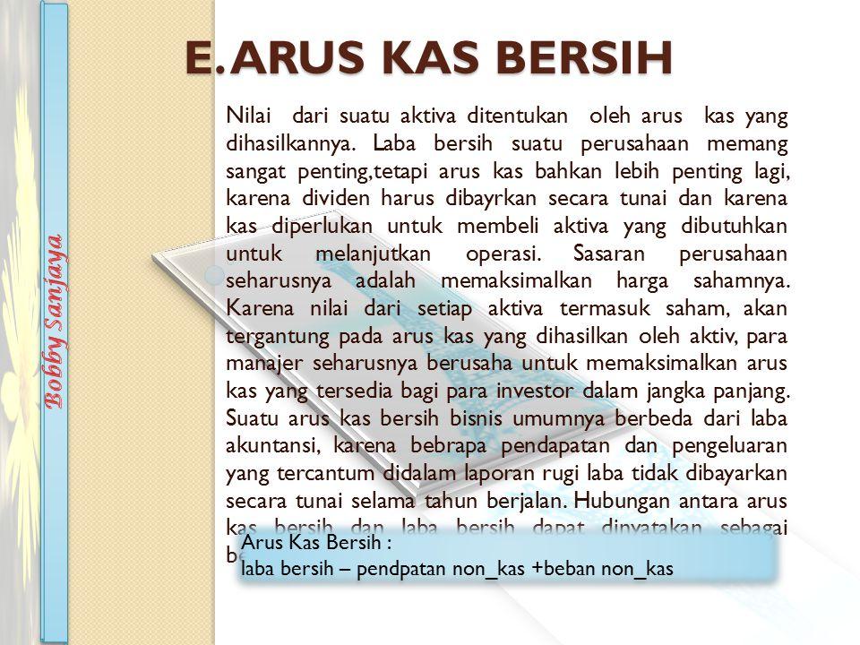E.ARUS KAS BERSIH Nilai dari suatu aktiva ditentukan oleh arus kas yang dihasilkannya.