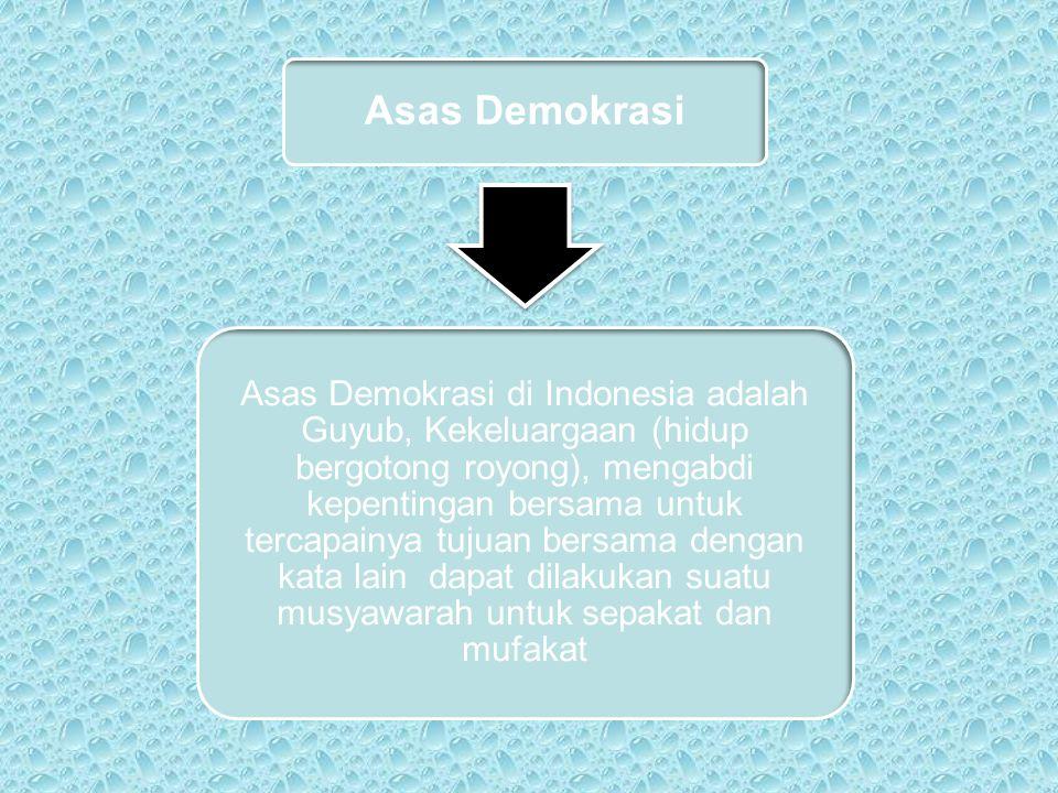 Asas Demokrasi Asas Demokrasi di Indonesia adalah Guyub, Kekeluargaan (hidup bergotong royong), mengabdi kepentingan bersama untuk tercapainya tujuan