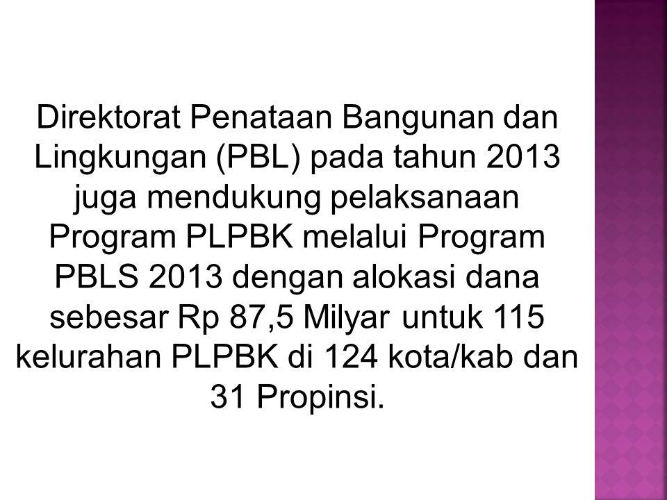 Direktorat Penataan Bangunan dan Lingkungan (PBL) pada tahun 2013 juga mendukung pelaksanaan Program PLPBK melalui Program PBLS 2013 dengan alokasi da
