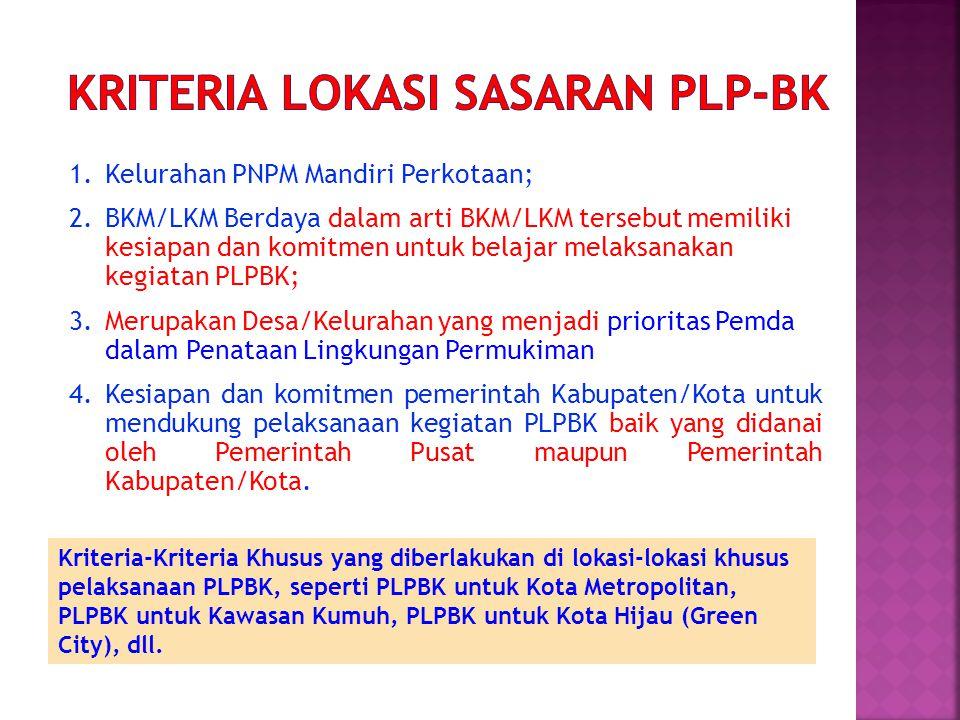 1.Kelurahan PNPM Mandiri Perkotaan; 2.BKM/LKM Berdaya dalam arti BKM/LKM tersebut memiliki kesiapan dan komitmen untuk belajar melaksanakan kegiatan P