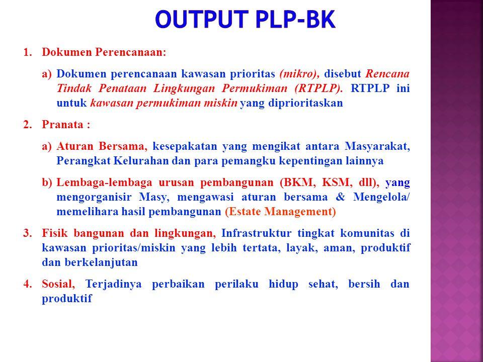 1.Dokumen Perencanaan: a)Dokumen perencanaan kawasan prioritas (mikro), disebut Rencana Tindak Penataan Lingkungan Permukiman (RTPLP). RTPLP ini untuk
