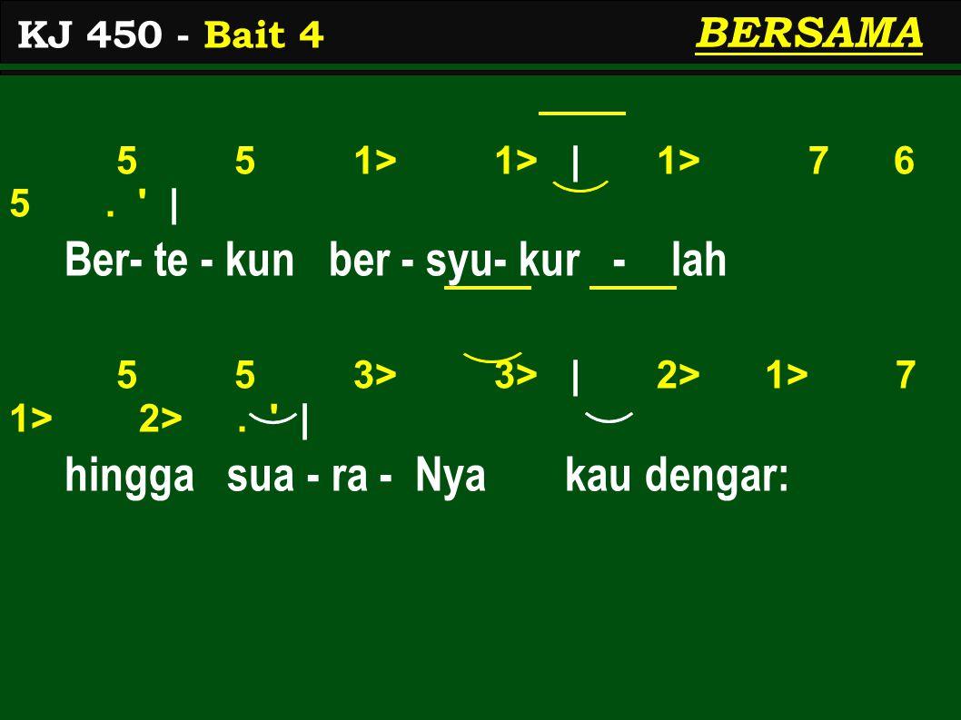 5 5 1> 1> | 1> 7 6 5. | Ber- te - kun ber - syu- kur - lah 5 5 3> 3> | 2> 1> 7 1> 2>.