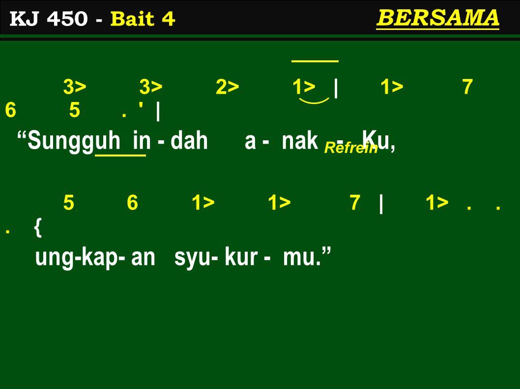 3> 3> 2> 1> | 1> 7 6 5. | Sungguh in - dah a - nak - Ku, 5 6 1> 1> 7 | 1>...