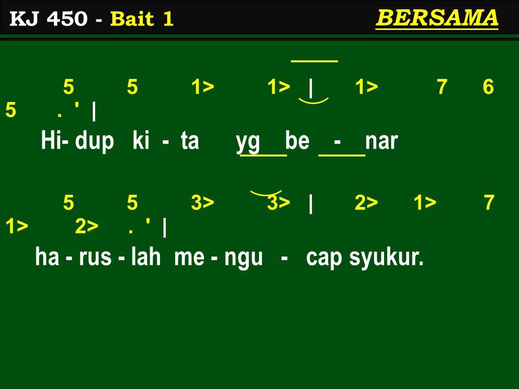 5 5 1> 1> | 1> 7 6 5. | Hi- dup ki - ta yg be - nar 5 5 3> 3> | 2> 1> 7 1> 2>.