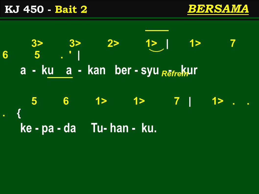 3> 3> 2> 1> | 1> 7 6 5. | a - ku a - kan ber - syu - kur 5 6 1> 1> 7 | 1>...