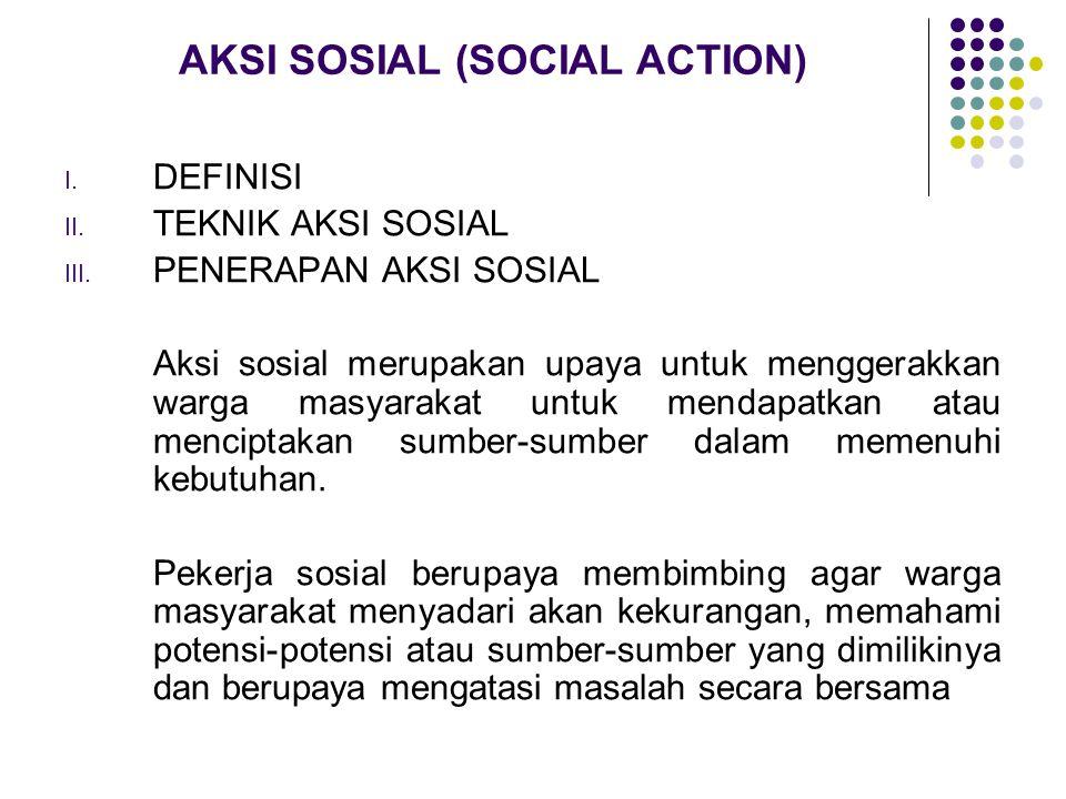 AKSI SOSIAL (SOCIAL ACTION) I. DEFINISI II. TEKNIK AKSI SOSIAL III. PENERAPAN AKSI SOSIAL Aksi sosial merupakan upaya untuk menggerakkan warga masyara