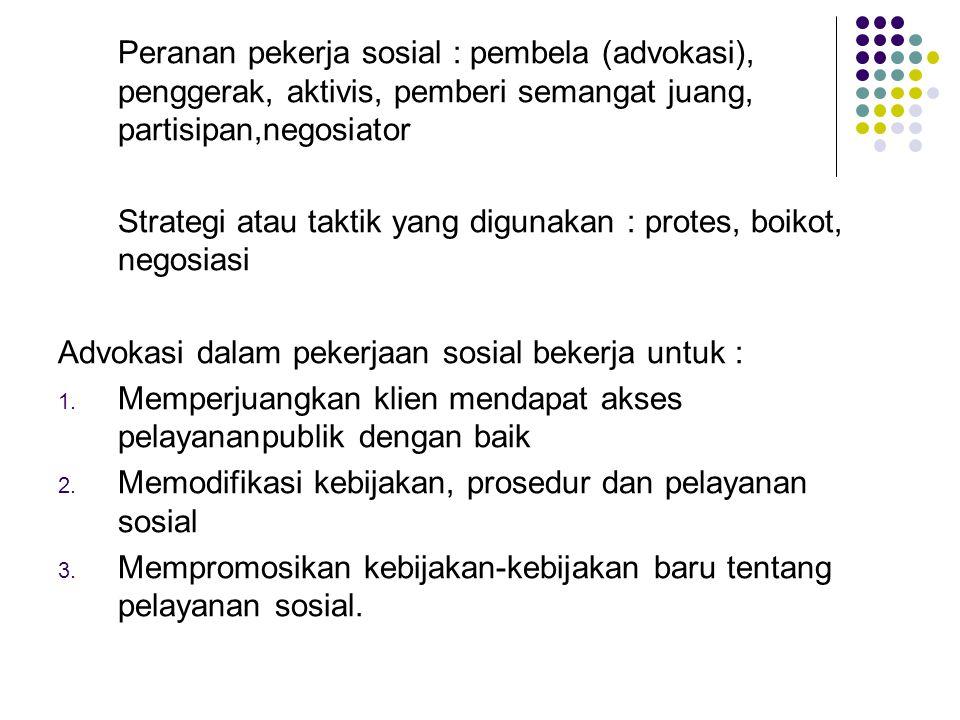 Peranan pekerja sosial : pembela (advokasi), penggerak, aktivis, pemberi semangat juang, partisipan,negosiator Strategi atau taktik yang digunakan : p