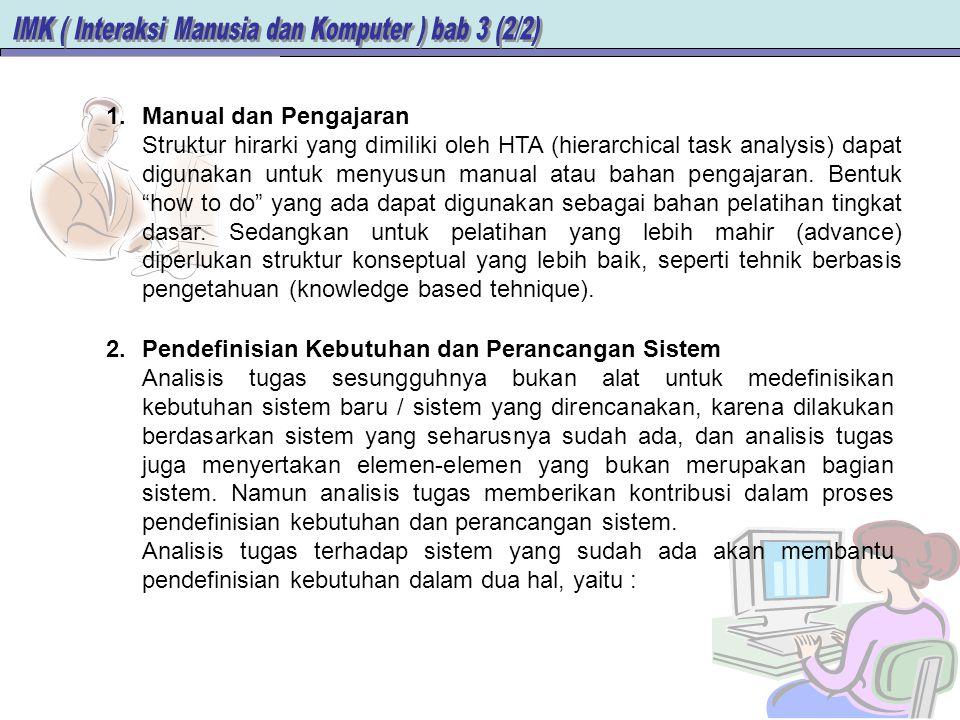 1.Manual dan Pengajaran Struktur hirarki yang dimiliki oleh HTA (hierarchical task analysis) dapat digunakan untuk menyusun manual atau bahan pengajaran.