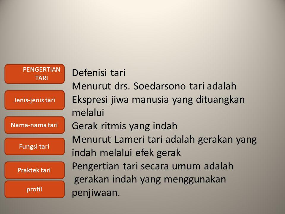 PENGERTIAN TARI Jenis-jenis tari Nama-nama tari Fungsi tari Praktek tari profil Defenisi tari Menurut drs. Soedarsono tari adalah Ekspresi jiwa manusi