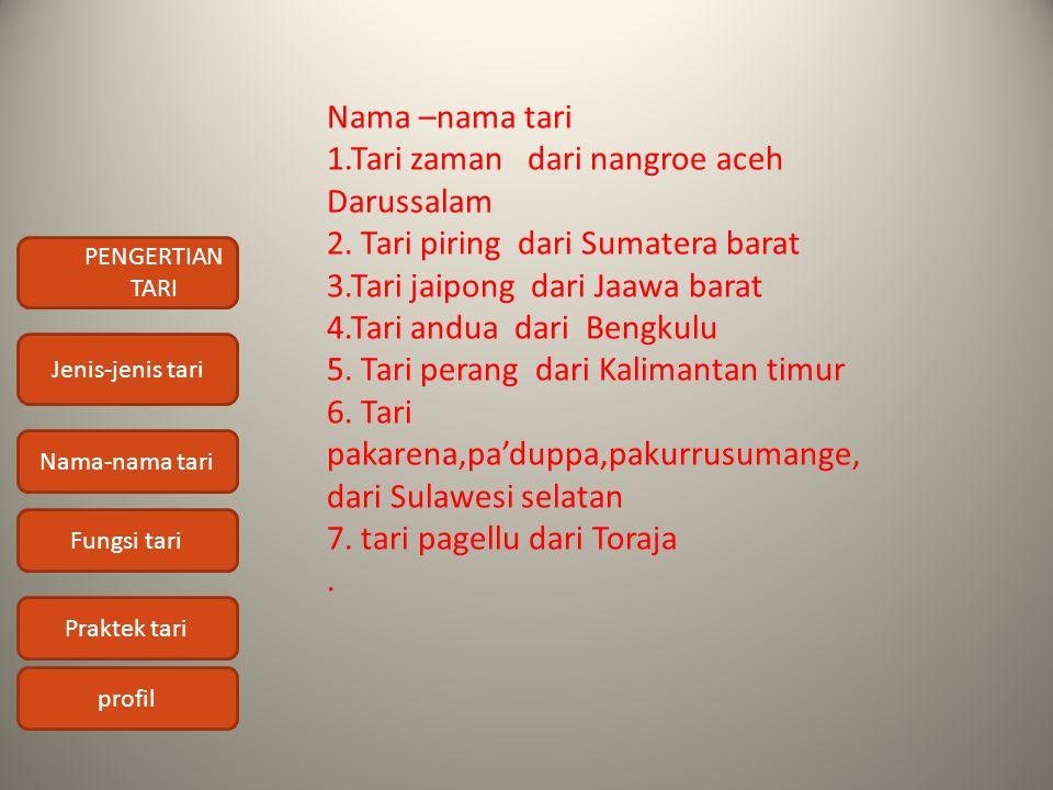 PENGERTIAN TARI Jenis-jenis tari Nama-nama tari Fungsi tari Praktek tari profil Nama –nama tari 1.Tari zaman dari nangroe aceh Darussalam 2. Tari piri