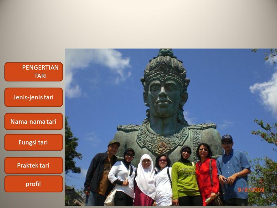 PENGERTIAN TARI Jenis-jenis tari Nama-nama tari Fungsi tari Praktek tari profil