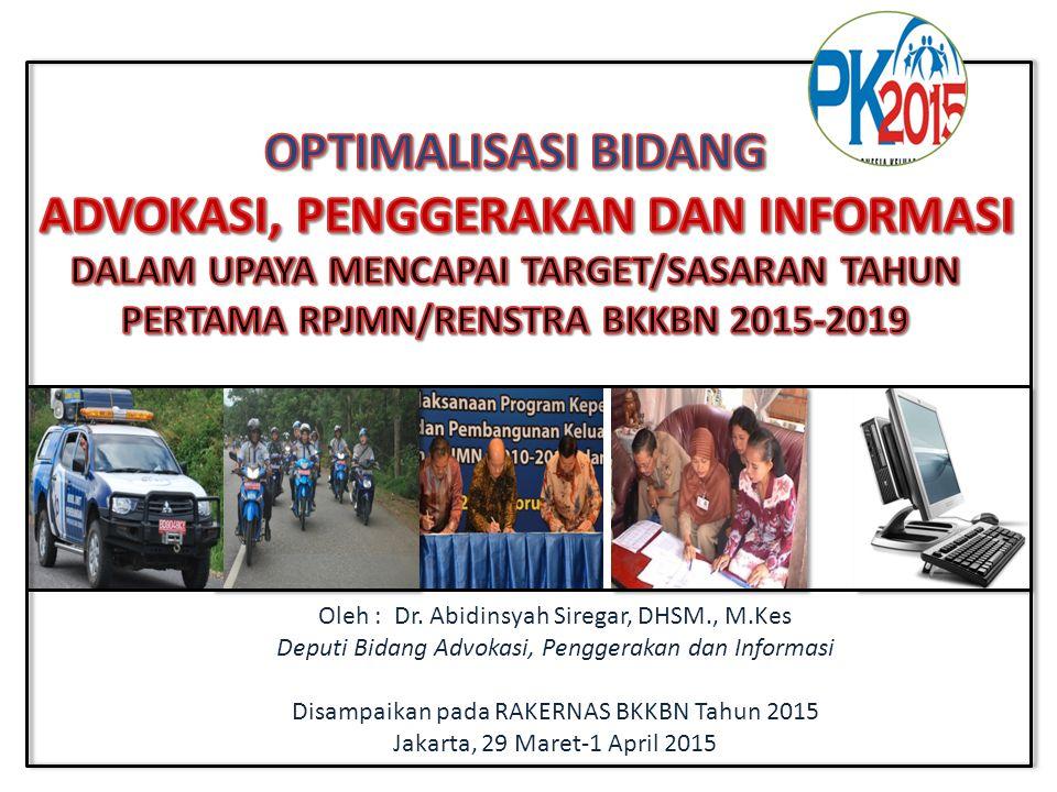 Oleh : Dr. Abidinsyah Siregar, DHSM., M.Kes Deputi Bidang Advokasi, Penggerakan dan Informasi Disampaikan pada RAKERNAS BKKBN Tahun 2015 Jakarta, 29 M