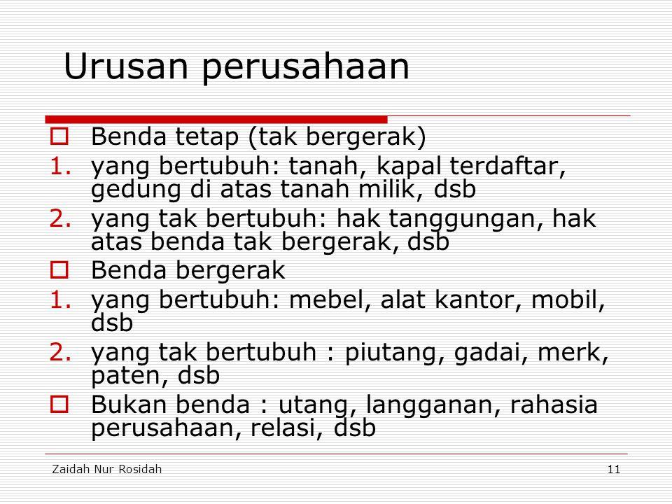 Zaidah Nur Rosidah11 Urusan perusahaan  Benda tetap (tak bergerak) 1.yang bertubuh: tanah, kapal terdaftar, gedung di atas tanah milik, dsb 2.yang ta
