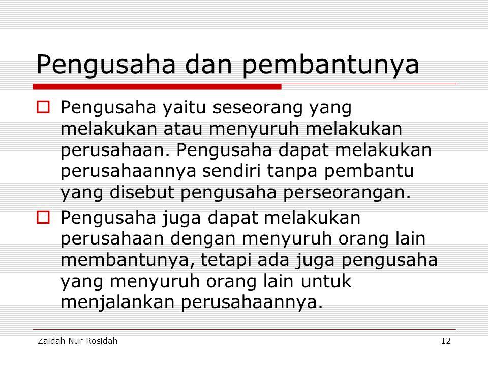 Zaidah Nur Rosidah12 Pengusaha dan pembantunya  Pengusaha yaitu seseorang yang melakukan atau menyuruh melakukan perusahaan. Pengusaha dapat melakuka