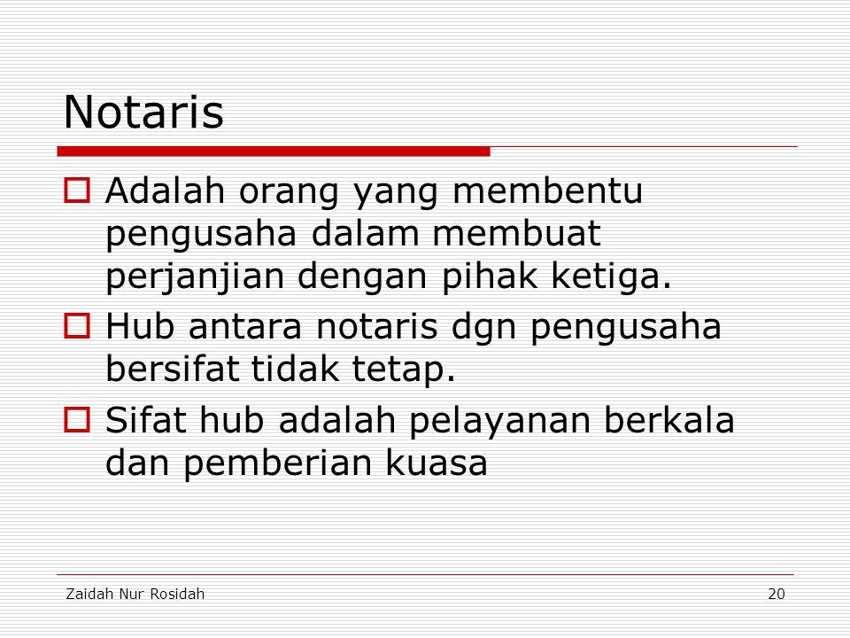 Zaidah Nur Rosidah20 Notaris  Adalah orang yang membentu pengusaha dalam membuat perjanjian dengan pihak ketiga.  Hub antara notaris dgn pengusaha b