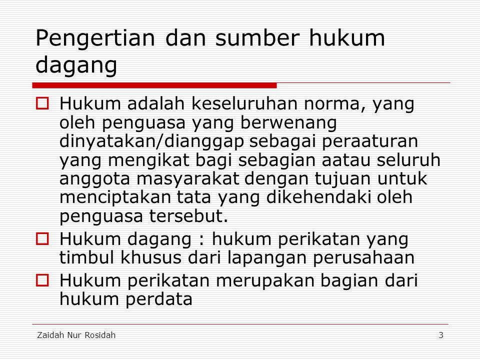 Zaidah Nur Rosidah3 Pengertian dan sumber hukum dagang  Hukum adalah keseluruhan norma, yang oleh penguasa yang berwenang dinyatakan/dianggap sebagai