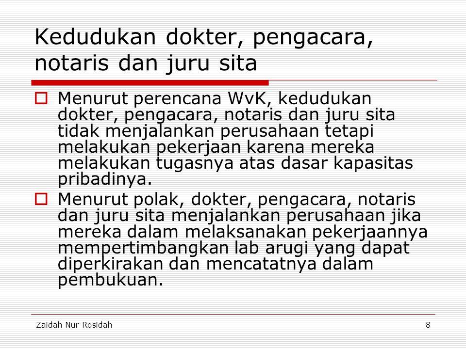 Zaidah Nur Rosidah8 Kedudukan dokter, pengacara, notaris dan juru sita  Menurut perencana WvK, kedudukan dokter, pengacara, notaris dan juru sita tid