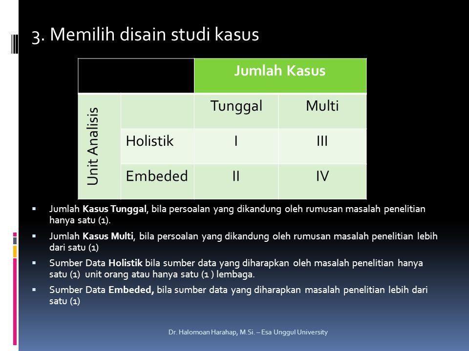 3. Memilih disain studi kasus  Jumlah Kasus Tunggal, bila persoalan yang dikandung oleh rumusan masalah penelitian hanya satu (1).  Jumlah Kasus Mul