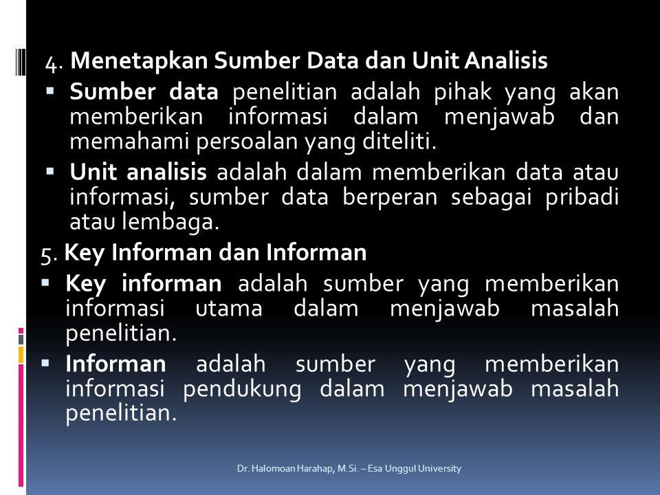 4. Menetapkan Sumber Data dan Unit Analisis  Sumber data penelitian adalah pihak yang akan memberikan informasi dalam menjawab dan memahami persoalan