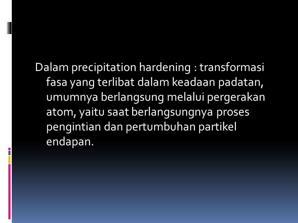 Dalam precipitation hardening : transformasi fasa yang terlibat dalam keadaan padatan, umumnya berlangsung melalui pergerakan atom, yaitu saat berlang