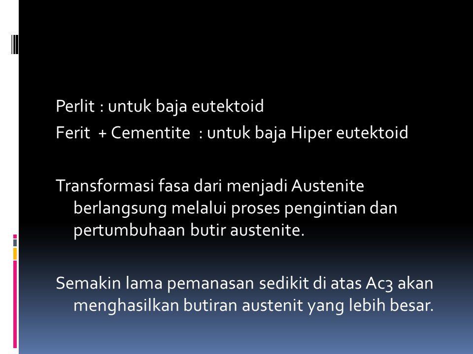 Perlit : untuk baja eutektoid Ferit + Cementite : untuk baja Hiper eutektoid Transformasi fasa dari menjadi Austenite berlangsung melalui proses pengi