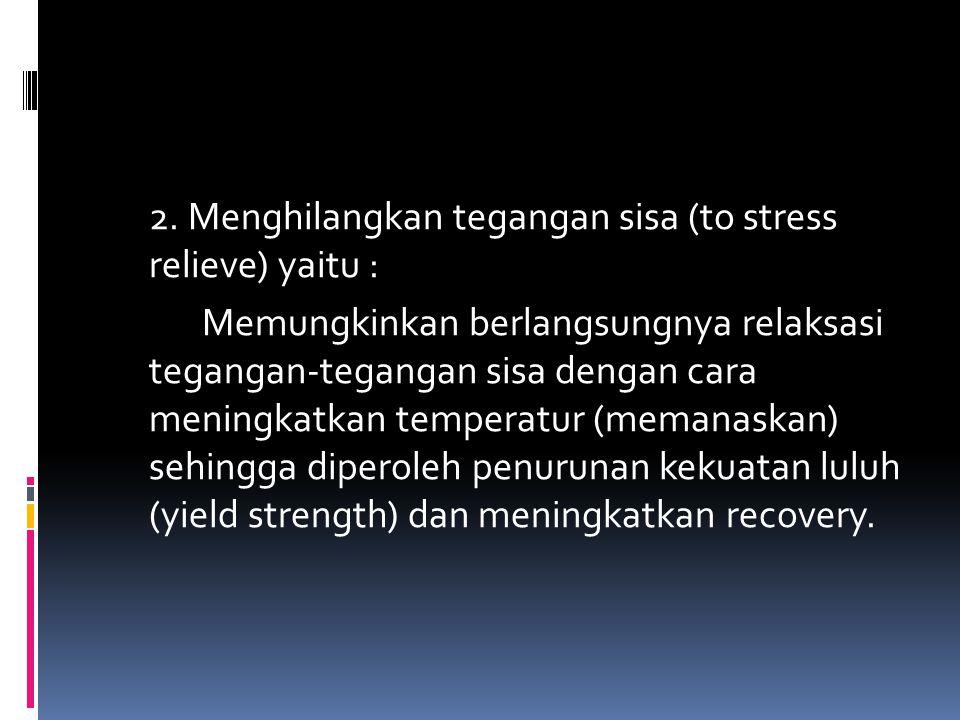 2. Menghilangkan tegangan sisa (to stress relieve) yaitu : Memungkinkan berlangsungnya relaksasi tegangan-tegangan sisa dengan cara meningkatkan tempe