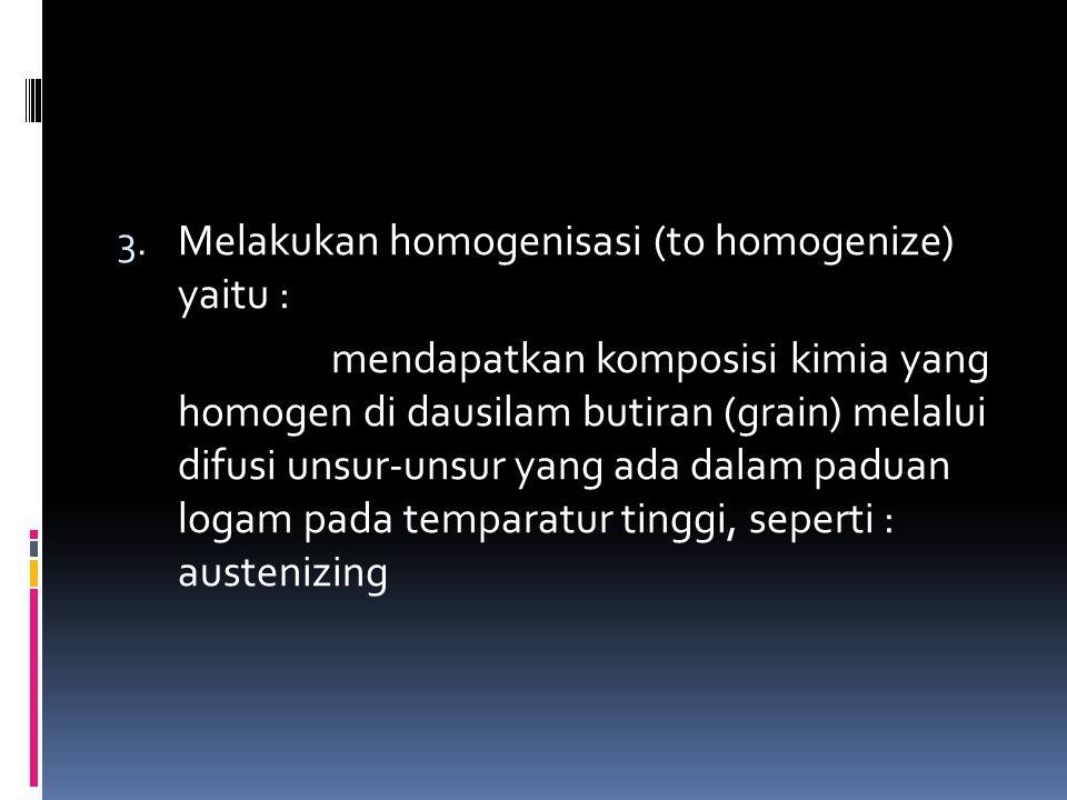 Pemanasan pada temperatur homogenisasi dilakukan relatif lama untuk memungkinkan jarak difusi atom-atom yang tersegresi dari batas butiran ke pusat butiran atau sebaliknya.
