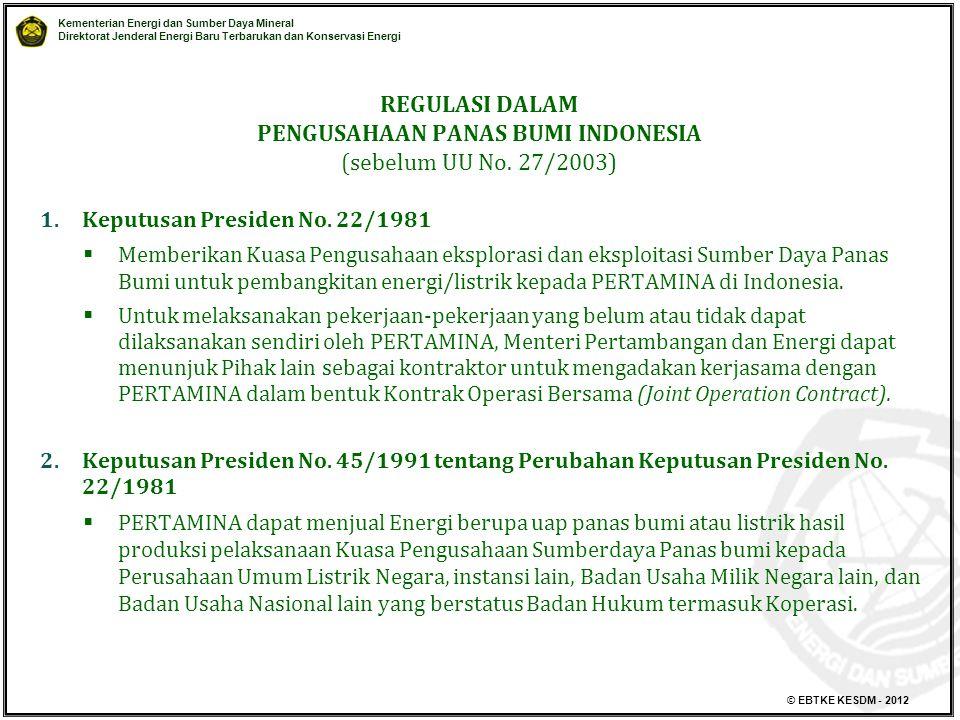 Kementerian Energi dan Sumber Daya Mineral Direktorat Jenderal Energi Baru Terbarukan dan Konservasi Energi © EBTKE KESDM - 2012 1.Keputusan Presiden No.