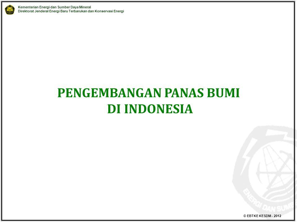 Kementerian Energi dan Sumber Daya Mineral Direktorat Jenderal Energi Baru Terbarukan dan Konservasi Energi © EBTKE KESDM - 2012 PENGEMBANGAN PANAS BUMI DI INDONESIA