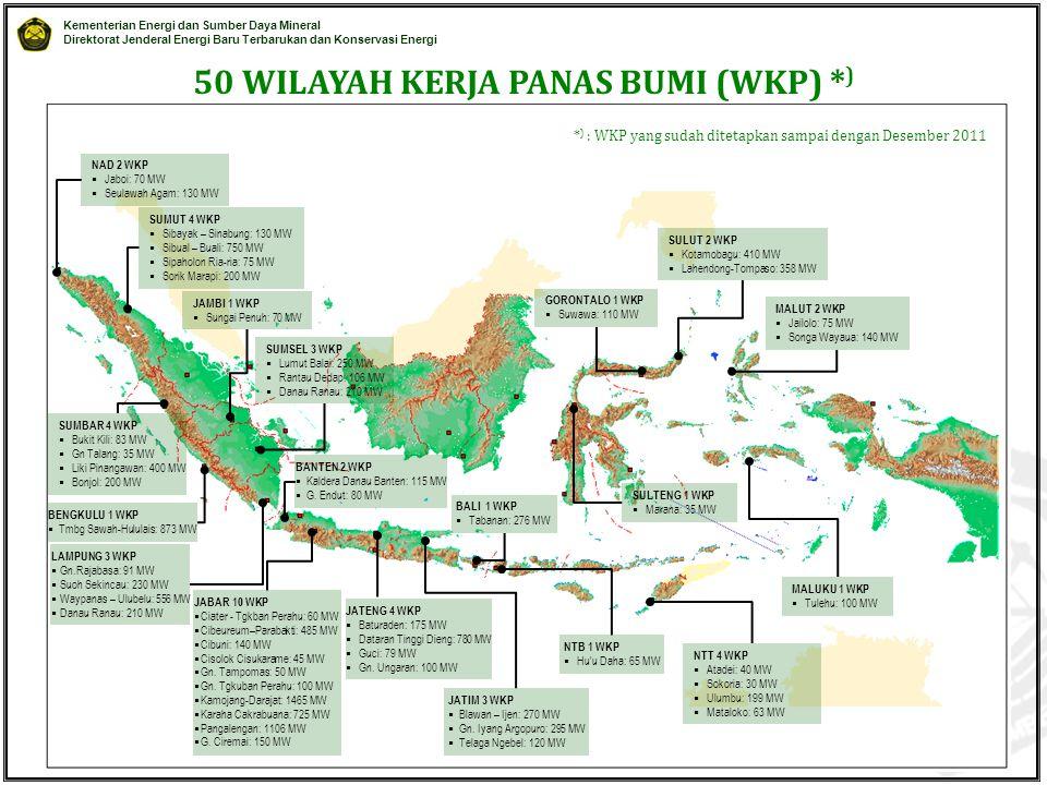 Kementerian Energi dan Sumber Daya Mineral Direktorat Jenderal Energi Baru Terbarukan dan Konservasi Energi © EBTKE KESDM - 2012 50 WILAYAH KERJA PANAS BUMI (WKP) * ) NAD 2 WKP  Jaboi: 70 MW  Seulawah Agam: 130 MW SUMUT 4 WKP  Sibayak – Sinabung: 130 MW  Sibual – Buali: 750 MW  Sipaholon Ria-ria: 75 MW  Sorik Marapi: 200 MW JAMBI 1 WKP  Sungai Penuh: 70 MW SUMSEL 3 WKP  Lumut Balai: 250 MW  Rantau Dedap: 106 MW  Danau Ranau: 210 MW BANTEN 2 WKP  Kaldera Danau Banten: 115 MW  G.