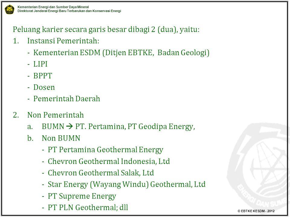 Kementerian Energi dan Sumber Daya Mineral Direktorat Jenderal Energi Baru Terbarukan dan Konservasi Energi © EBTKE KESDM - 2012 Peluang karier secara