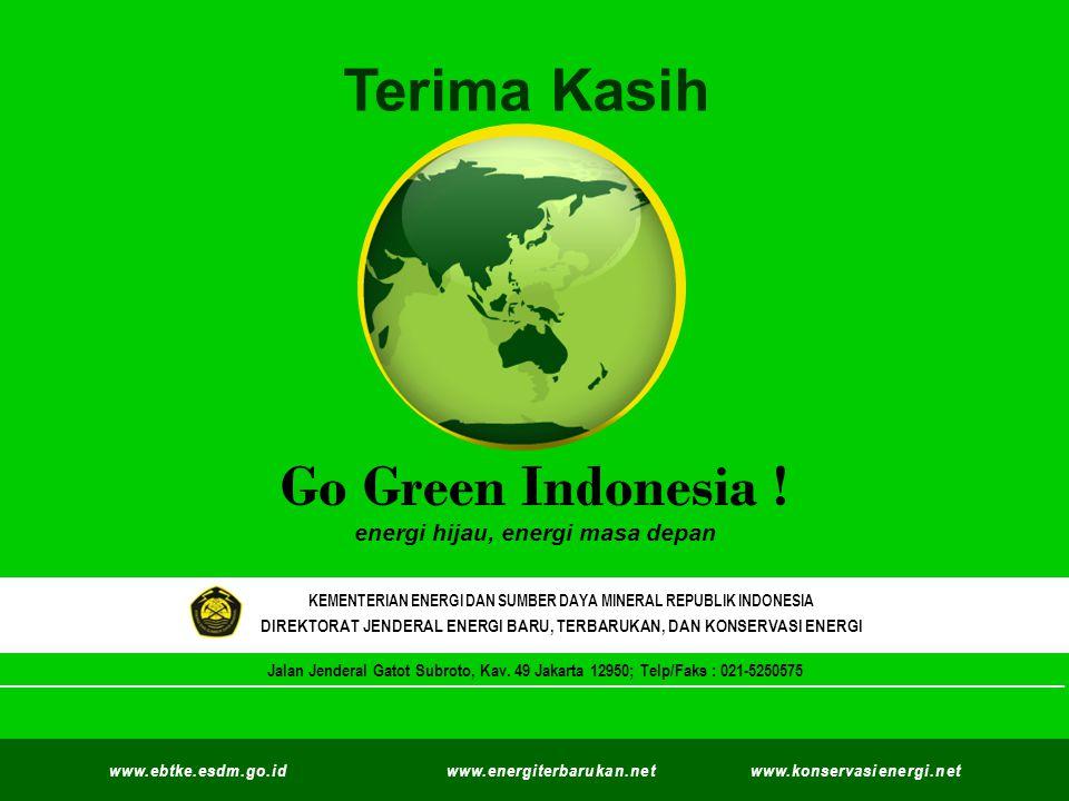 Kementerian Energi dan Sumber Daya Mineral Direktorat Jenderal Energi Baru Terbarukan dan Konservasi Energi © EBTKE KESDM - 2012 ` Go Green Indonesia .