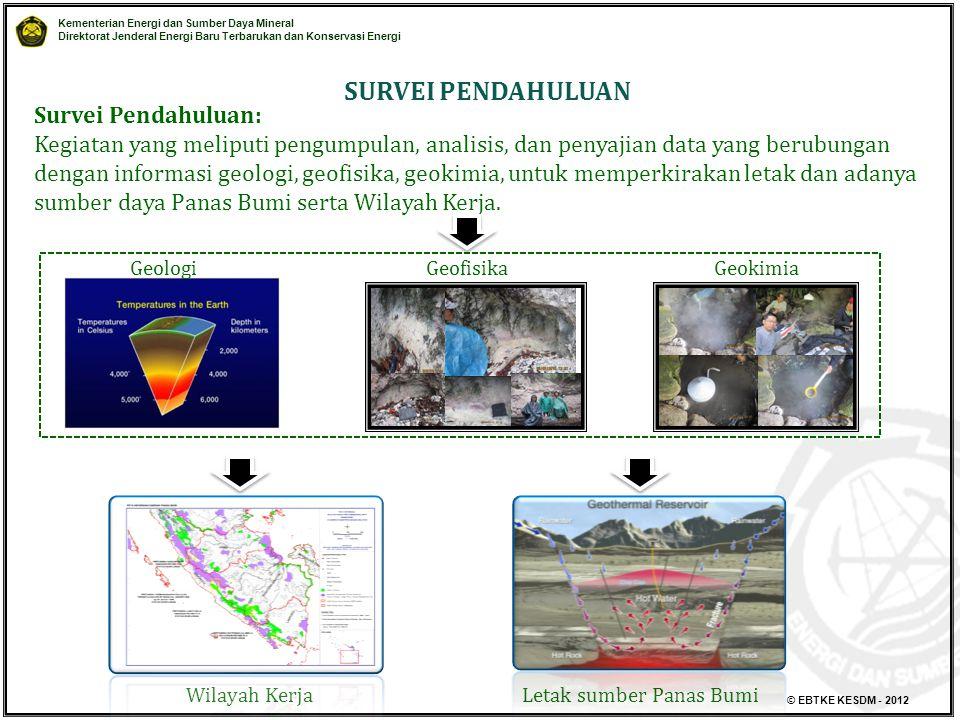 Kementerian Energi dan Sumber Daya Mineral Direktorat Jenderal Energi Baru Terbarukan dan Konservasi Energi © EBTKE KESDM - 2012 Survei Pendahuluan: K