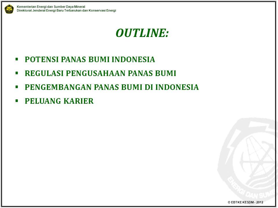 Kementerian Energi dan Sumber Daya Mineral Direktorat Jenderal Energi Baru Terbarukan dan Konservasi Energi © EBTKE KESDM - 2012 OUTLINE:  POTENSI PANAS BUMI INDONESIA  REGULASI PENGUSAHAAN PANAS BUMI  PENGEMBANGAN PANAS BUMI DI INDONESIA  PELUANG KARIER