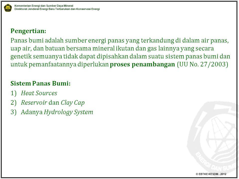 Kementerian Energi dan Sumber Daya Mineral Direktorat Jenderal Energi Baru Terbarukan dan Konservasi Energi © EBTKE KESDM - 2012 Pengertian: Panas bum