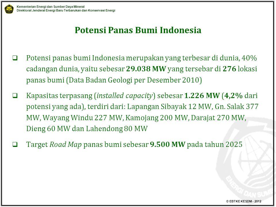 Kementerian Energi dan Sumber Daya Mineral Direktorat Jenderal Energi Baru Terbarukan dan Konservasi Energi © EBTKE KESDM - 2012  Potensi panas bumi Indonesia merupakan yang terbesar di dunia, 40% cadangan dunia, yaitu sebesar 29.038 MW yang tersebar di 276 lokasi panas bumi (Data Badan Geologi per Desember 2010)  Kapasitas terpasang (installed capacity) sebesar 1.226 MW (4,2% dari potensi yang ada), terdiri dari: Lapangan Sibayak 12 MW, Gn.