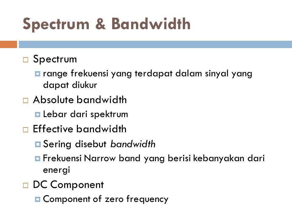 Spectrum & Bandwidth  Spectrum  range frekuensi yang terdapat dalam sinyal yang dapat diukur  Absolute bandwidth  Lebar dari spektrum  Effective bandwidth  Sering disebut bandwidth  Frekuensi Narrow band yang berisi kebanyakan dari energi  DC Component  Component of zero frequency