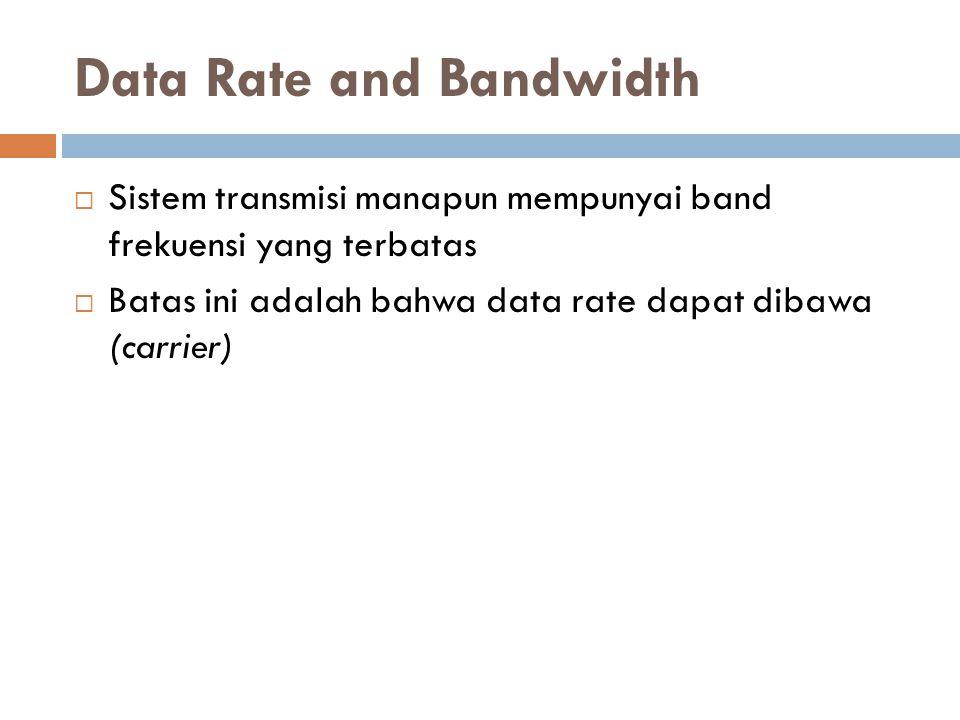 Data Rate and Bandwidth  Sistem transmisi manapun mempunyai band frekuensi yang terbatas  Batas ini adalah bahwa data rate dapat dibawa (carrier)