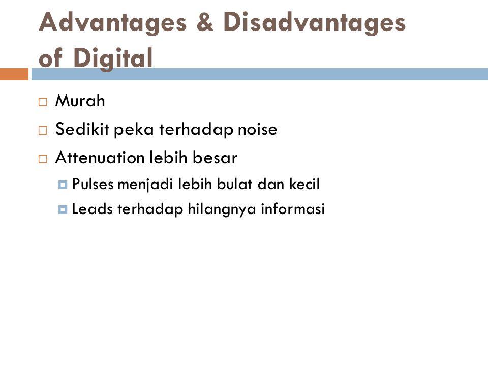 Advantages & Disadvantages of Digital  Murah  Sedikit peka terhadap noise  Attenuation lebih besar  Pulses menjadi lebih bulat dan kecil  Leads terhadap hilangnya informasi