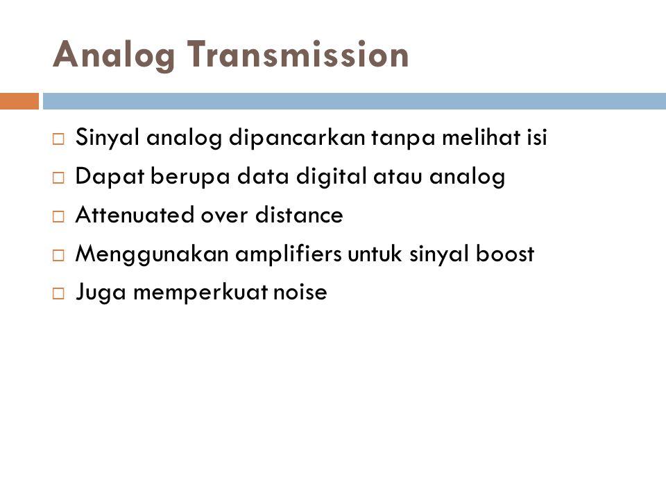 Analog Transmission  Sinyal analog dipancarkan tanpa melihat isi  Dapat berupa data digital atau analog  Attenuated over distance  Menggunakan amplifiers untuk sinyal boost  Juga memperkuat noise