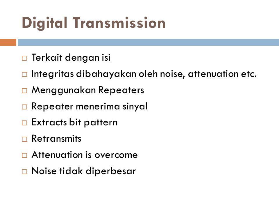 Digital Transmission  Terkait dengan isi  Integritas dibahayakan oleh noise, attenuation etc.  Menggunakan Repeaters  Repeater menerima sinyal  E