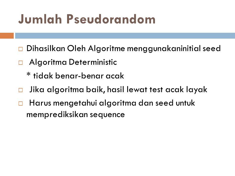 Jumlah Pseudorandom  Dihasilkan Oleh Algoritme menggunakaninitial seed  Algoritma Deterministic * tidak benar-benar acak  Jika algoritma baik, hasil lewat test acak layak  Harus mengetahui algoritma dan seed untuk memprediksikan sequence