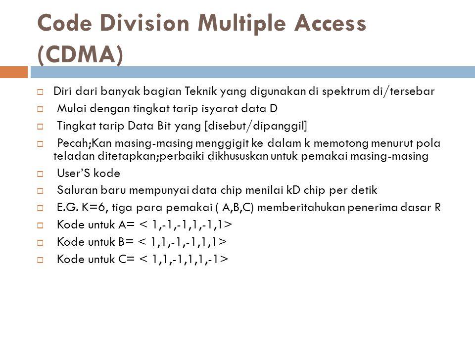 Code Division Multiple Access (CDMA)  Diri dari banyak bagian Teknik yang digunakan di spektrum di/tersebar  Mulai dengan tingkat tarip isyarat data D  Tingkat tarip Data Bit yang [disebut/dipanggil]  Pecah;Kan masing-masing menggigit ke dalam k memotong menurut pola teladan ditetapkan;perbaiki dikhususkan untuk pemakai masing-masing  User'S kode  Saluran baru mempunyai data chip menilai kD chip per detik  E.G.