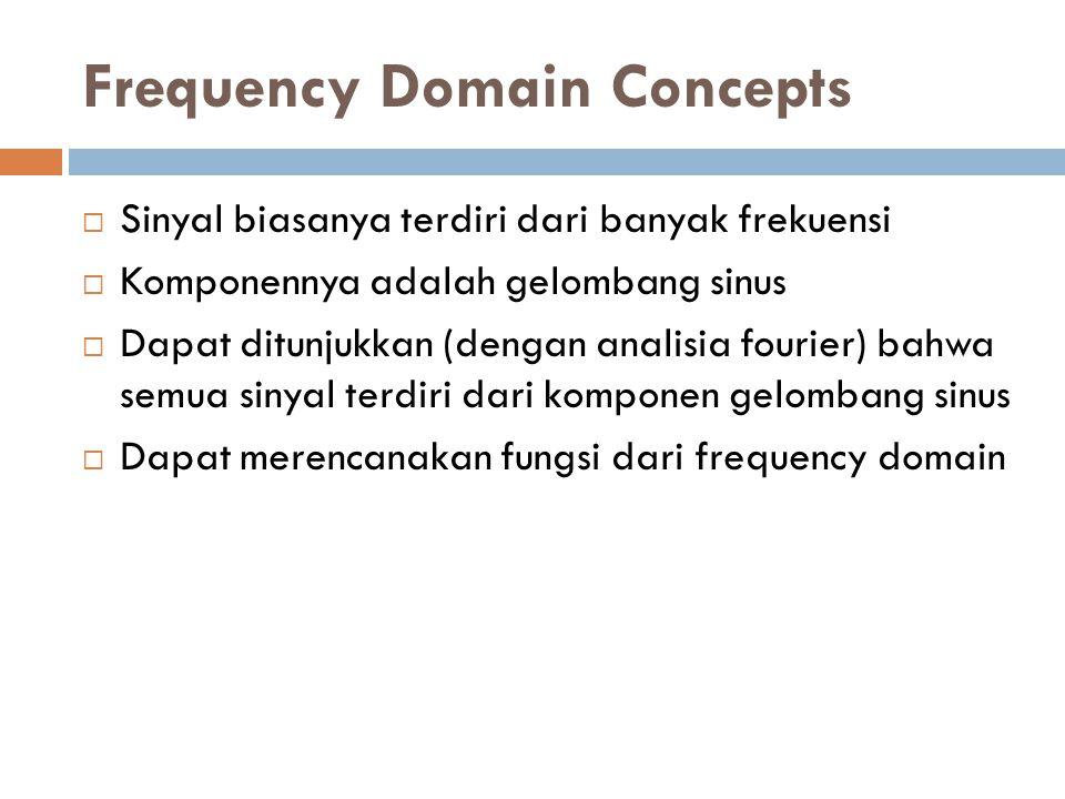 Frequency Domain Concepts  Sinyal biasanya terdiri dari banyak frekuensi  Komponennya adalah gelombang sinus  Dapat ditunjukkan (dengan analisia fourier) bahwa semua sinyal terdiri dari komponen gelombang sinus  Dapat merencanakan fungsi dari frequency domain