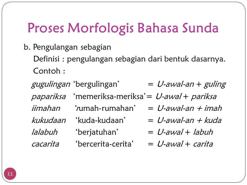 Proses Morfologis Bahasa Sunda 11 b. Pengulangan sebagian Definisi : pengulangan sebagian dari bentuk dasarnya. Contoh : gugulingan'bergulingan'= U-aw
