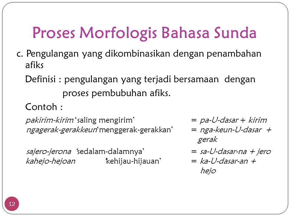 Proses Morfologis Bahasa Sunda 12 c. Pengulangan yang dikombinasikan dengan penambahan afiks Definisi : pengulangan yang terjadi bersamaan dengan pros